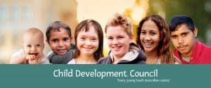 Child Development Council main header, 'every young South Australian counts""